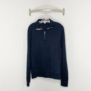 Burberry 1/2 Zip 100% Cotton Black Pullover